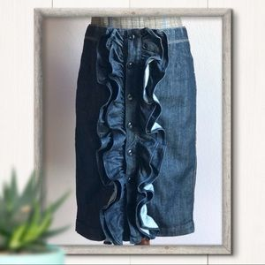 7 For All Mankind Midi Denim Ruffle Skirt Size 27